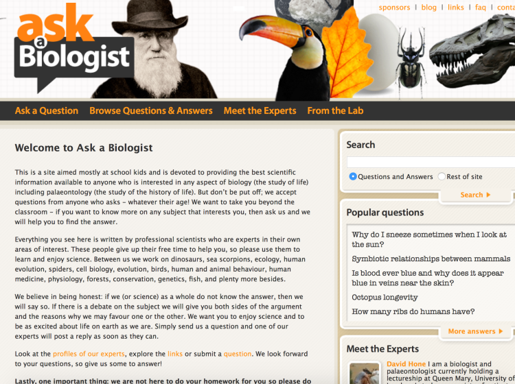 Ask a Biologist screenshot of the homepage
