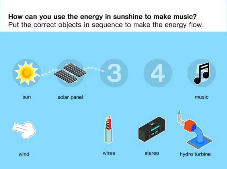 Energy Flows screenshot showing how energy in sunshine can be used to make music