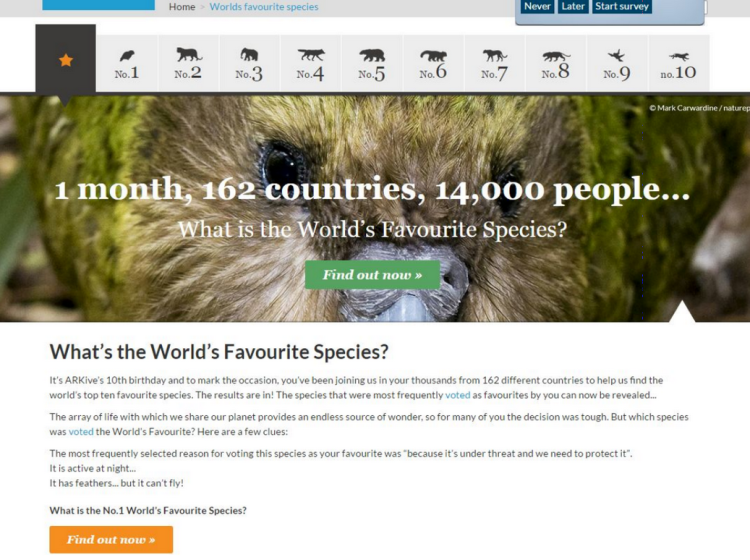 Wildscreen Archive Screenshot of What's the Worlds Favourite Species?
