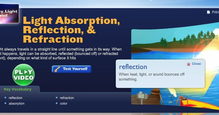 light absorption reflection refraction screenshot