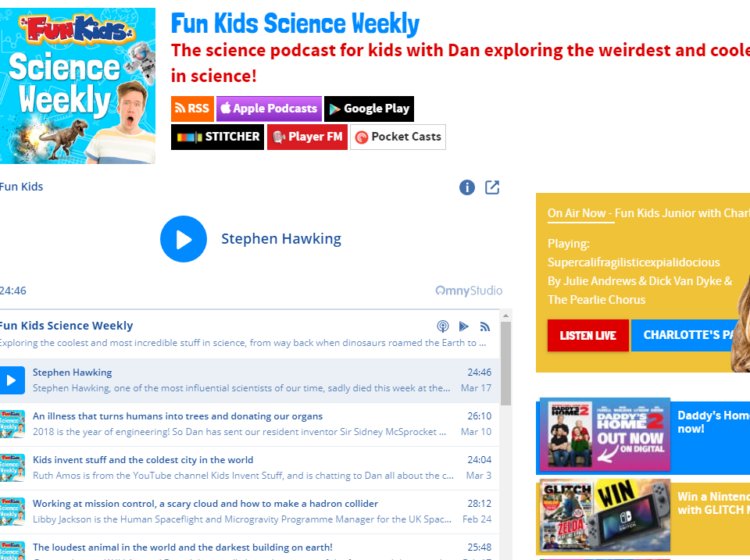 Fun Kids Science Weekly Podcast Screenshot