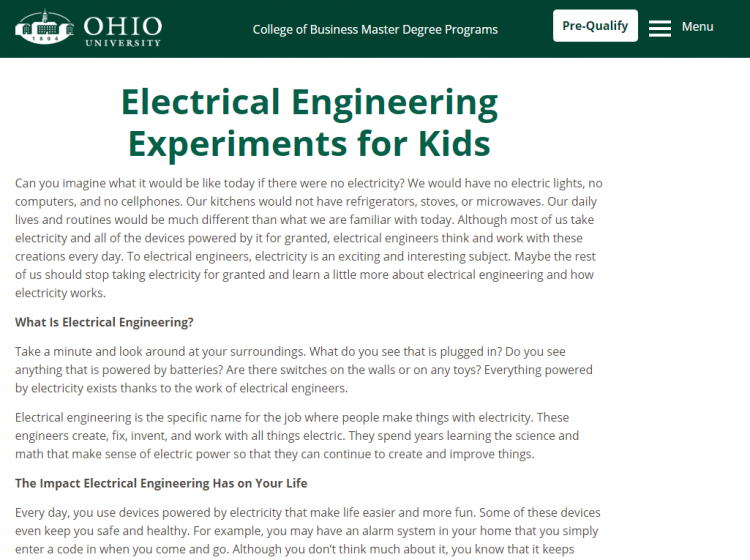 electrical engineering for kids home page. Make a call.