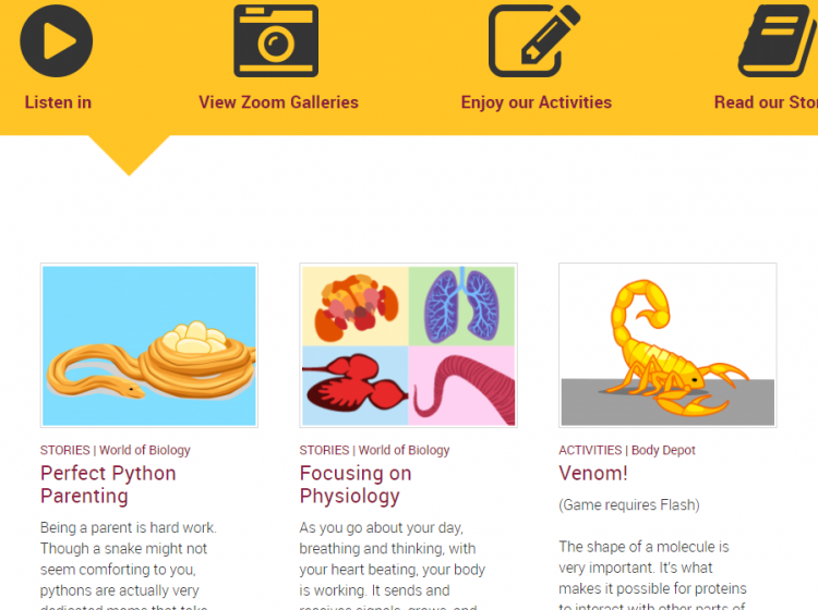 Ask a biologist screenshot of stories and activities. Python parenting and venom game.
