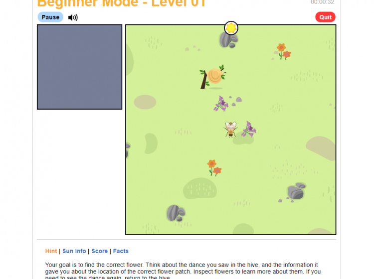 Ask a Biologist Screenshot of Bee Dance game. Find the correct flower