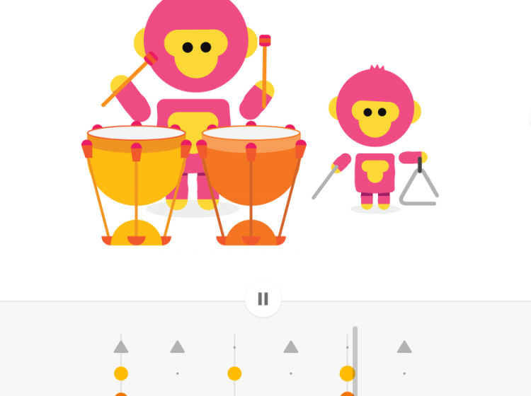 Chrome music lab screenshot of monkeys playing percussion